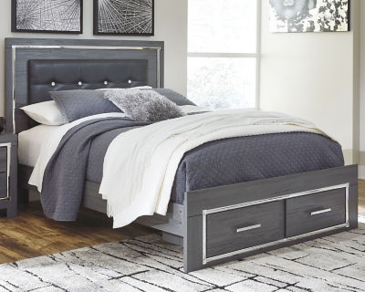 Larkspur Queen Panel Bed with 2 Storage Drawers