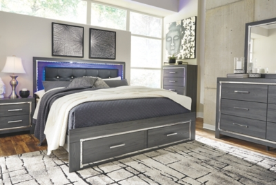 Larkspur King Panel Bed with 2 Storage Drawers