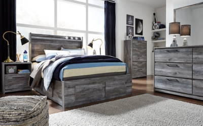 Bixton Full Panel Bed with 6 Storage Drawers