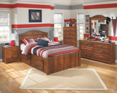 Barner Full Panel Bed with 4 Storage Drawers