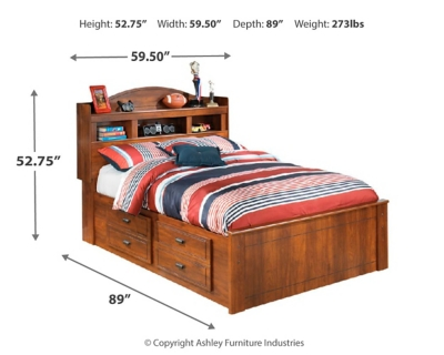 Barner Full Bookcase Bed with 2 Storage Drawers