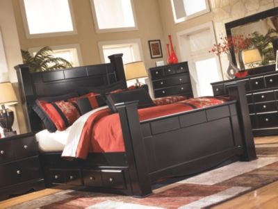Salida King Poster Bed with 2 Storage Drawers
