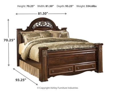 Galt King Poster Bed with 2 Storage Drawers