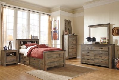 Trenton Twin Bookcase Bed with 2 Storage Drawers
