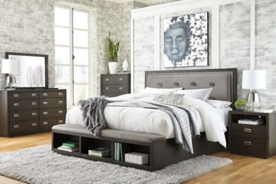 Hayward King Upholstered Panel Bed with Storage