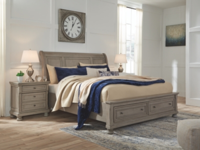 Lanare King Sleigh Bed with 2 Storage Drawers