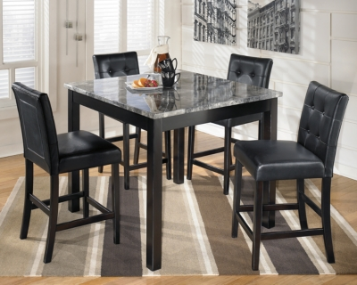 Malaga Counter Height Dining Room Table and Bar Stools (Set of 5)