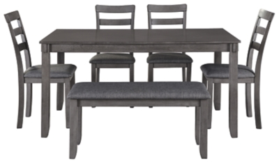 Barstow Dining Room Table and Chairs with Bench (Set of 6)