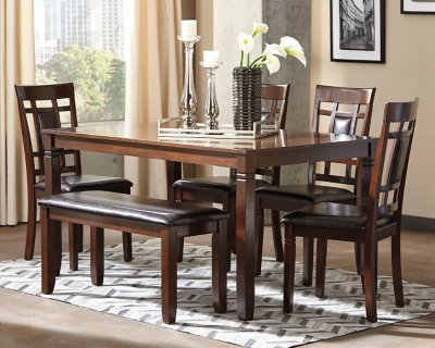 Brooks Dining Room Table and Chairs with Bench (Set of 6)